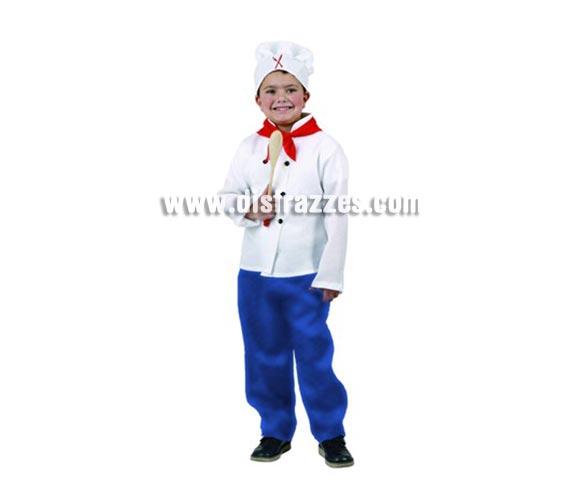 Disfraz de Cocinero para niños de 7-9 años. Incluye camisa, pañuelo, pantalón y gorro. Cuchara NO incluida.