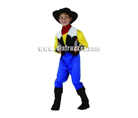 Disfraz Cowboy Musculoso para niños de 7-9 años. Incluye camisa, sombrero, pantalón, cubrebotas y pañuelo. Chaleco y pistolas NO incluidas.