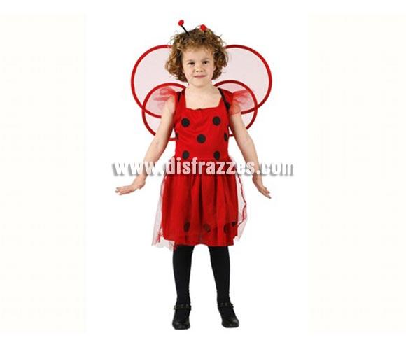 Disfraz de Mariquita para niñas de 10-12 años. Incluye vestido y antenas.