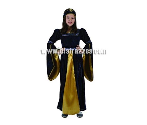 Disfraz de Princesa Medieval Azul para niñas de 3-4 años. Incluye vestido y tocado.