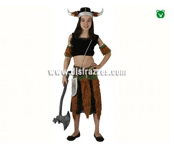 Disfraz de Vikinga para niñas de 10-12 años. Incluye falda, top, cubrebrazos y gorro. Hacha No incluida, podrás encontrar hachas en la sección de Complementos.