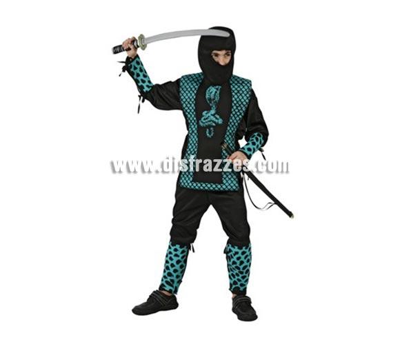 Disfraz de Guerrero Ninja Cobra para niños de 10-12 años. Incluye pantalón, casaca, protectores para brazos y piernas y capucha. Espada NO incluida, podrás encontrar espadas en la sección de Complementos.