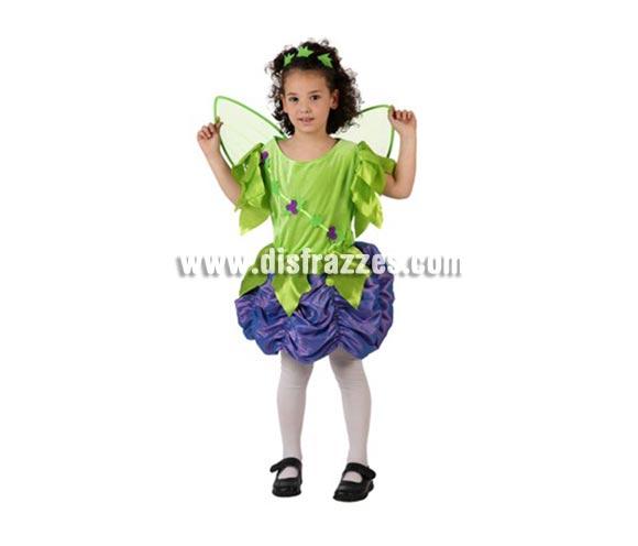 Disfraz de Ninfa del Bosque para niñas de 3-4 años. Incluye vestido, alas y tocado.