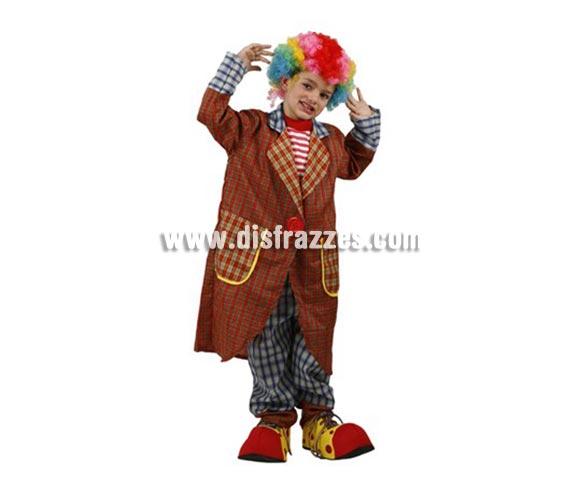 Disfraz de Payaso Elegante para niños de 10-12 años. Incluye pantalón, camisa y abrigo. Peluca y zapatones NO incluidos, podrás encontrarlos en la sección de Complementos.