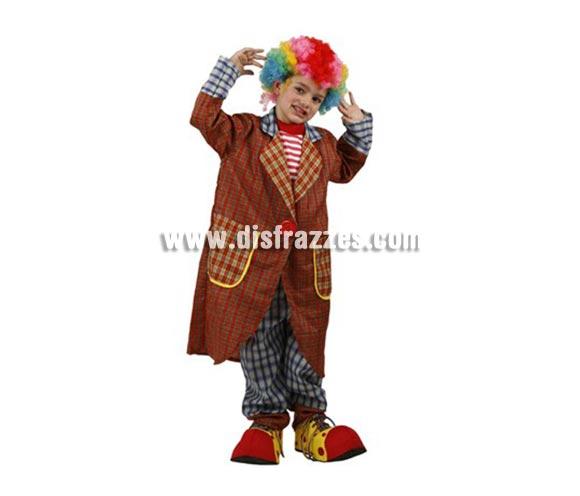 Disfraz de Payaso Elegante para niños de 5-6 años. Incluye pantalón, camisa y abrigo. Peluca y zapatones NO incluidos, podrás encontrarlos en la sección de Complementos.
