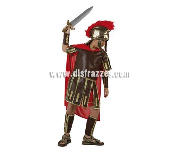 Disfraz de Romano para niños de 5-6 años. Incluye traje, protectores brazos y piernas y gorro. Espada NO incluida, podrás encentrar espadas en la sección de Complementos. Perfecto para representaciones y teatros de Belén en Navidad.