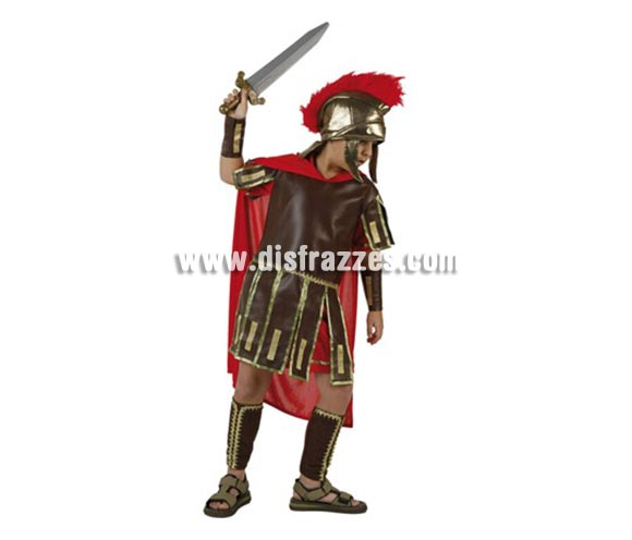 Disfraz de Romano para niños de 7-9 años. Incluye traje, protectores brazos y piernas y gorro. Espada NO incluida, podrás encentrar espadas en la sección de Complementos. Perfecto para representaciones y teatros de Belén en Navidad.