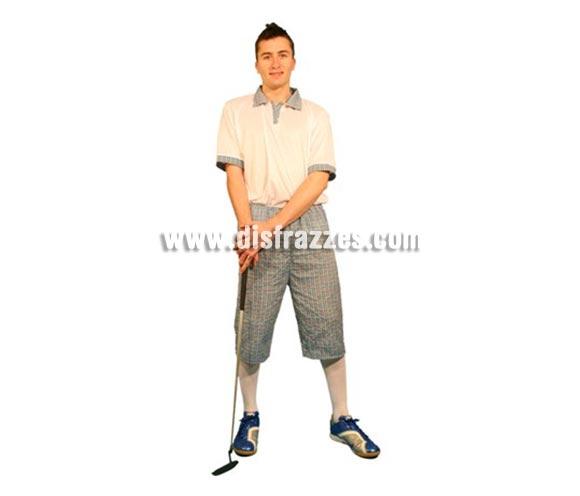 Disfraz de Jugador de Golf o Golfista para hombre. Talla Standar M-L = 52/54. Incluye camisa y pantalón. Palo de Golf NO incluido. La pareja de éste disfraz podría ser la ref. 09162BT. SUPEROFERTA!!!