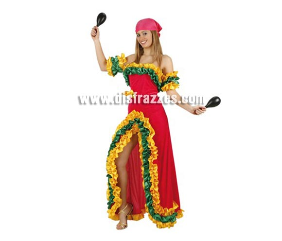 Disfraz de Brasileña Rosa para mujer. Talla 2 ó talla standar M-L = 38/42. Incluye vestido y pañuelo. Maracas NO incluidas, podrás encontrar maracas en la sección de Complementos.