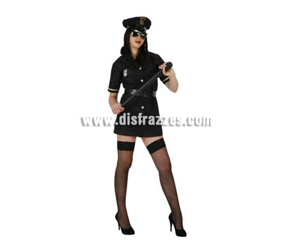 Disfraz barato de Policia Sexy para mujer. Talla 2 ó talla standar M-L = 38/42. Incluye vestido, cinturón y gorra. Gafas y porra NO incluidas, podrás encontrarlas en la sección de Complementos.