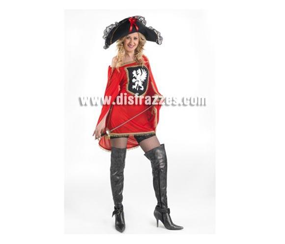 Disfraz de Mosquetera Sexy para mujer. Talla 2 ó talla standar M-L. Incluye sombrero, vestido y capa. Espada NO incluida, podrás encontrar espadas en la sección de Complementos. Botas NO incluidas.