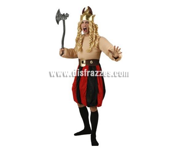 Disfraz de Galo Rojo/Negro para hombre. Talla 2 ó talla standar M-L = 52/54. Incluye mono, cinturón y gorro. Hacha y peluca NO incluida, podrás encontrar hachas y pelucas en la sección de Complementos.