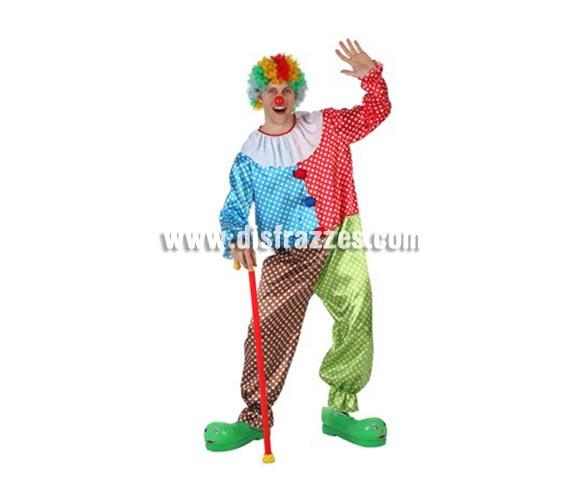 Disfraz de Payaso Multicolor para hombre. Incluye traje. Peluca, zapatones y bastón NO inluidos, podrás encontrarlos en la sección de Complementos.