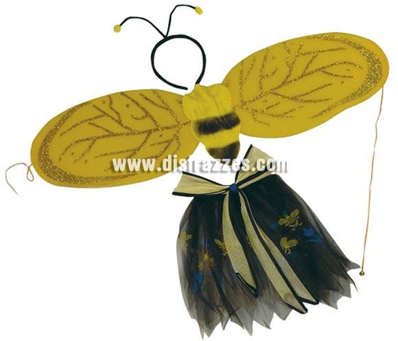 Set de alas y falda 46 cm. Perfecto para disfrazar a las niñas hasta 7-9 años de Abeja o Abejita. Las alas abiertas miden 93 cm, la falda de la goma hasta abajo mide 34 cm. y estirando la goma da hasta 53 cm.