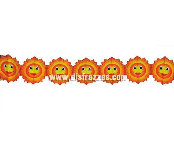 Guirnalda infantil de Soles de papel fantasía de 16 x 400 cm. ideal para decorar todo tipo de Fiestas.