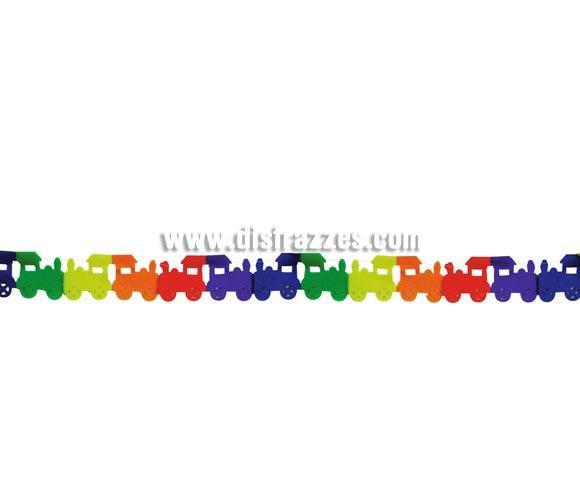 Guirnalda infantil Trenecitos de papel fantasía de 24 x 350 cm. Perfecta para decoración en Fiestas de Cumpleaños o para cualquier Fiesta de niños.