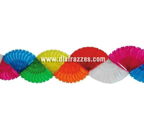Guirnalda de Abanicos de papel fantasía de 22 x 275 cm. multicolor. Perfecta para decoración en Fiestas Flamencas o de cualquier otro tipo.