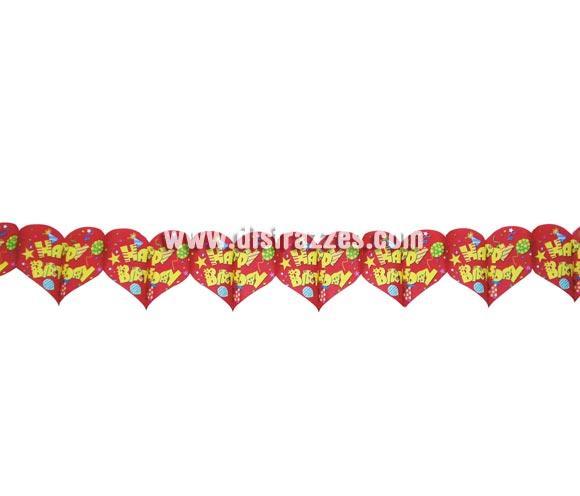 Guirnalda de papel fantasía de Corazones HAPPY BIRTHDAY perfecta para decorar Fiestas de Cumpleaños. Medida 20 x 300 cm.