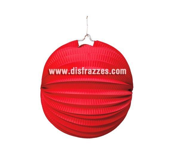 Farolillo Esférico de papel de 26 cm. de color rojo. Perfecto para decorar Fiestas Flamencas y Casetas en la Feria de Abril.