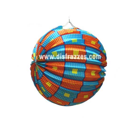 Farolillo esférico decorado fantasía de 26 cm. perfecto para decorar cualquier tipo de Fiesta.