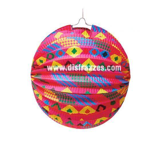 Farolillo esférico fantasía decorado de 26 cm. genial para decorar tus Fiestas.
