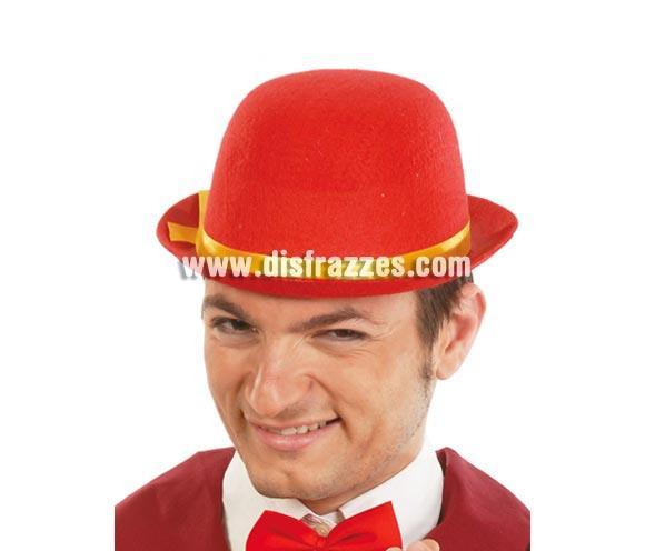 Sombrero bombín de fieltro rojo con cinta amarilla genial para animar a nuestra Selección Española.