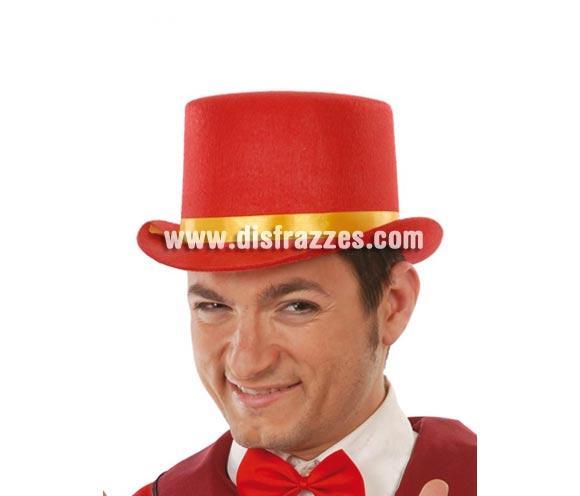 Sombrero Chistera o sombrero de copa de fieltro rojo con cinta amarilla. Es perfecta para animar a nuestra Selección Española.