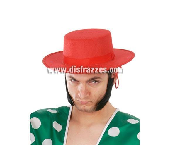 Sombrero Cordobés de fieltro rojo para Fiestas flamencas o de tipo Español.