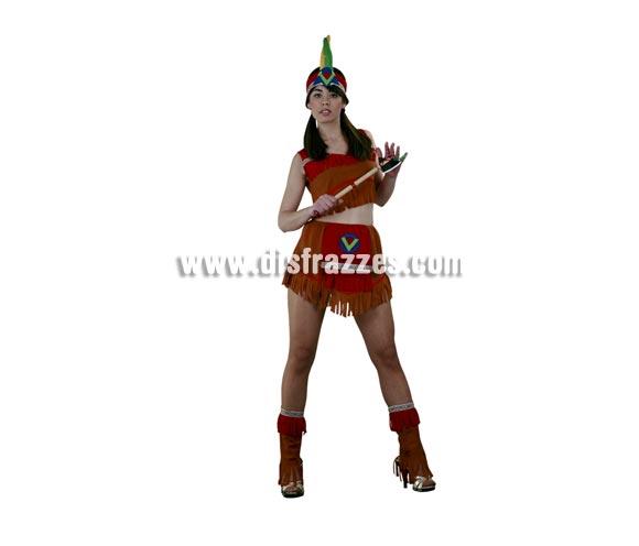 Disfraz barato de India Super Sexy para mujer. Talla Universal 38/42. Incluye tocado, top de manga corta, falda y polainas. Hacha NO incluida, podrás verla en la sección de Complementos - Armas. Un disfraz ideal para el veranito.