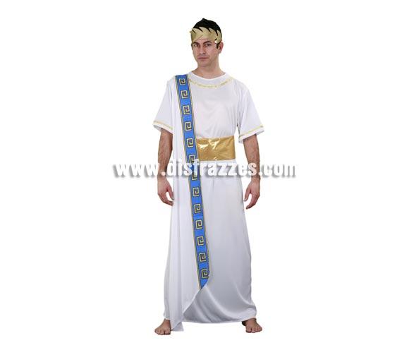 Disfraz barato de Emperador Romano para hombre. Talla Standar M-L= 52/54. Incluye túnica, manto y cinturón. Cinta de la cabeza NO incluida, podrás ver algunos modelos en la sección de Complementos. Éste traje también se suele usar en Navidades para representar a Herodes.
