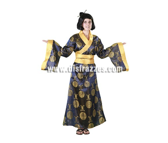 Disfraz de China de lujo para mujer. Talla standar M-L = 38/42. Incluye kimono y cinturón. Un disfraz genial para ir de China o de Gheisa en Carnavales.
