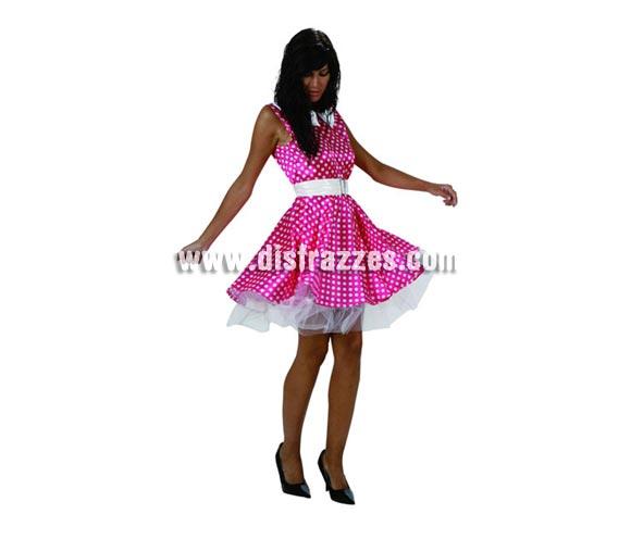 Disfraz o vestido rosa de Chica de los años 60 para mujer. Talla stándar M-L = 38/42. Incluye vestido con cinturón.