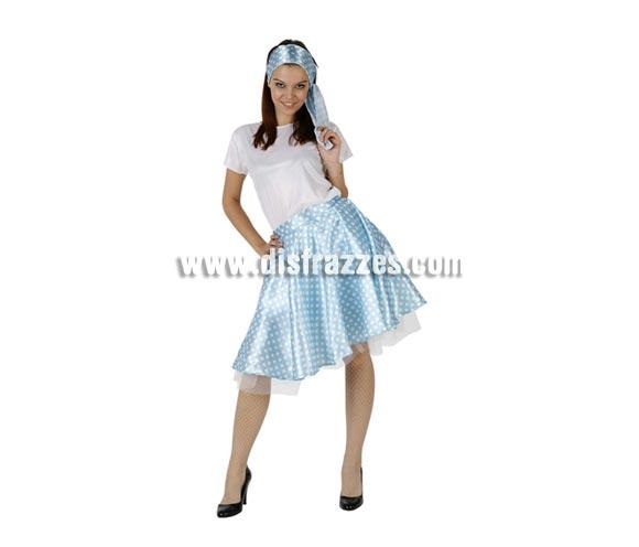 Disfraz de Chica de los años 60 blanco y azul para mujer. Talla 2 ó talla Standar M-L 38/42. Incluye cinta, camisa y falda.