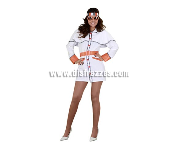 Disfraz de Chica Hippie de los años 70 para mujer. Talla Standar M-L = 38/42. Incluye cinta de la cabeza, vestido y cinturón. Gafas NO incluidas, podrás verlas en la sección de Complementos. Perfecto para Fiestas de los Años 70 que cada vez más se celebran con amigos en casas particulares.