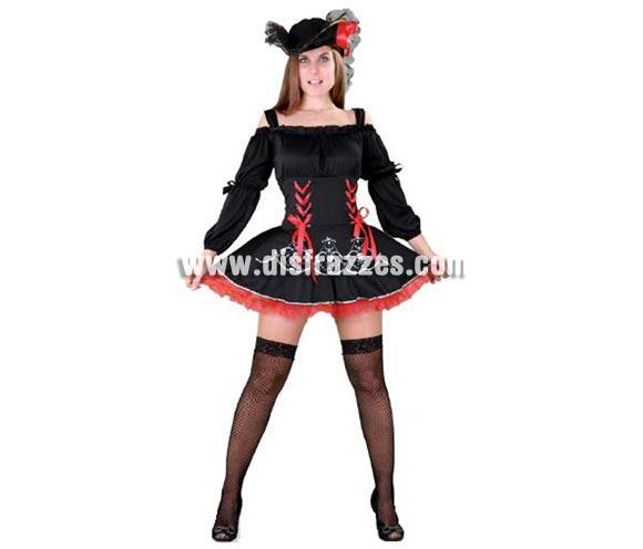 Disfraz de Filibustera sexy para mujer barato. Talla Standar M-L = 38/42. Incluye sombrero y vestido. Disfraz de Pirata sexy para mujer.