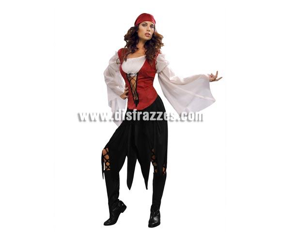 Disfraz de mujer Pirata adulta. Talla standar M-L = 38/42. Incluye camisa con chaleco, falda y pañuelo. Botas NO incluidas, pero seguro que tú tienes algunas botas negras que quedan geniales con éste disfraz que aprovechamos para apuntar que es muy bonito.