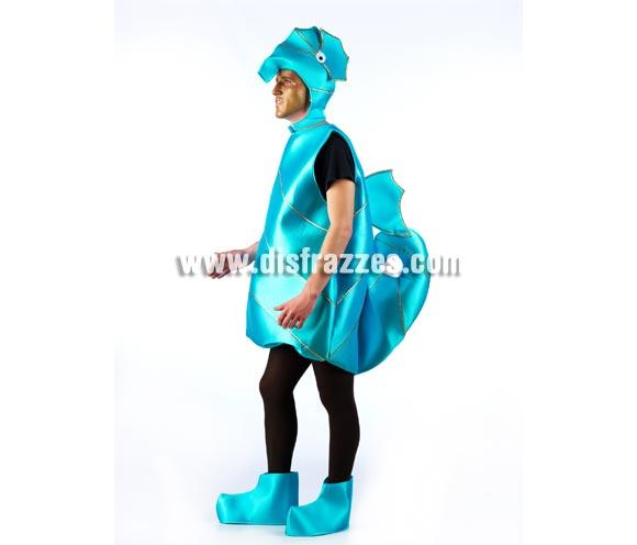 Disfraz de Caballito de mar para adultos. Disponible en varias tallas. Incluye gorro, cuerpo y cublrepies. Un disfraz ideal para Comparsas, Peñas y Grupos. Existe la posibilidad de hacerlo en otros colores pero con un mínimo de 6 uds. por color y talla.