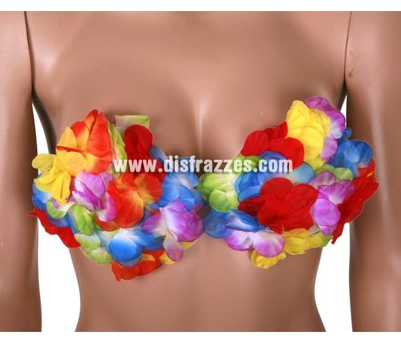 Sujetador Hawaiano decorado con pétalos de flor. Ideal para fiestas en la playa y también para despedidas de soltero/a.