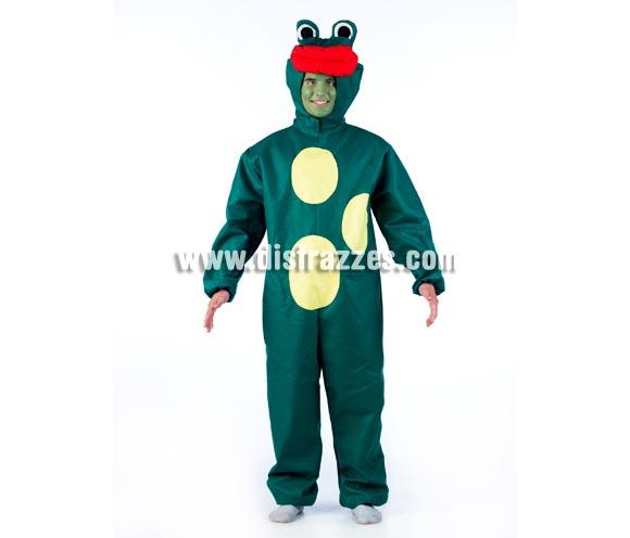 Disfraz de Rana para adultos de color VERDE OSCURO. Disponible en 2 tallas. Incluye gorro y mono. Disfraz exclusivo y muy original ideal para Comparsas, Peñas y Grupos.