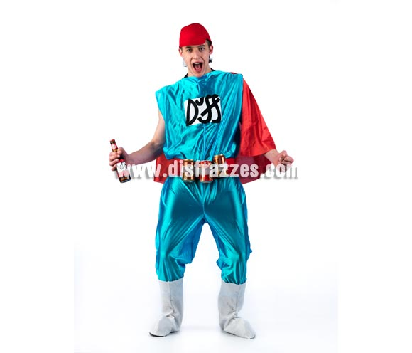 Disfraz de Duff Man para hombre. Disponible en 2 tallas. Incluye gorra, mono con capa, cubrebotas y cinturón. Si quieres ir de Superhéroe y te gustan los Simpson ya sabes, jajajaja.
