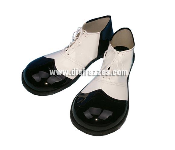 Par de Zapatos o Zapatones de Payaso para hombre de 37cm. de color blanco y negro.