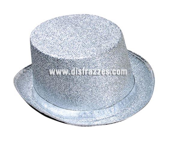Sombrero de copa o Chistera plateado brillante para Carnaval. Talla universal de adultos.