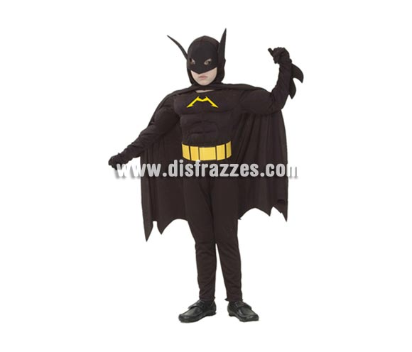 Disfraz de Murciélago Musculoso niño. Talla de 10 a 12 años. Incluye traje completo con capa y máscara. Para jugar a ser Batman y hacer valer su imaginación.