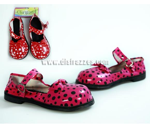 Par de Zapatos o Zapatones de Payaso con lunares para mujer. Dos colores surtidos. Precio por unidad, se venden por separado.
