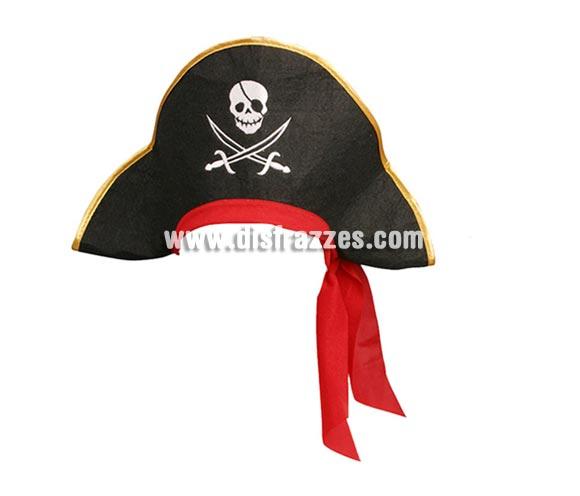 Sombrero Pirata para adultos de fieltro negro y con cinta roja, ideal para tu disfraz de Pirata.