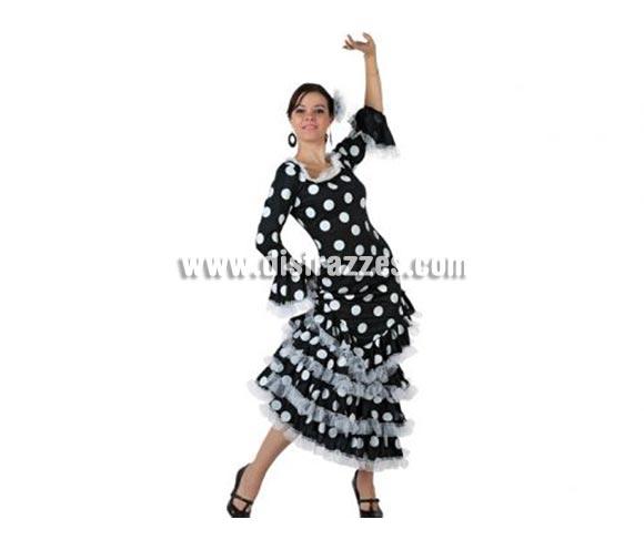 Disfraz de Faralae negro con lunares blancos para mujer. Talla 3 ó talla XL 44/48. Incluye vestido y tocado. Éste es un bonito traje de Andaluza o Sevillana de mujer.