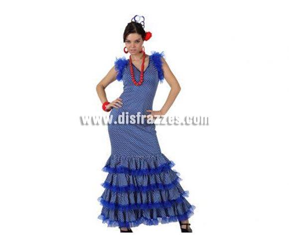 Disfraz de Flamenca azul con lunar blanco para mujer. Talla 2 ó talla Standar M-L = 38/42. Incluye disfraz. Complementos NO incluidos, podrás encontrar en nuestra sección de Complementos. Perfecto para la Feria de Abril, la Feria de Málaga, etc.etc.