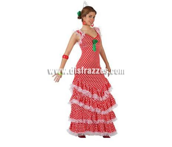 Disfraz de Sevillana rojo con lunar blanco para mujer. Talla XL 44/48. Complementos NO incluidos. Disfraz de Sevillana, Flamenca o Gitana de mujer perfecto para la Feria de Abril.