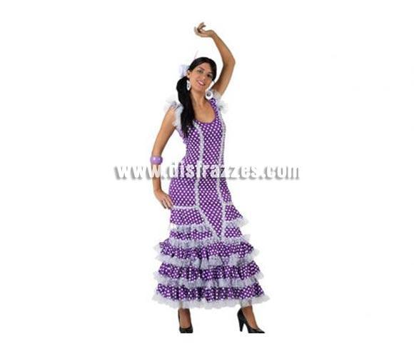 Disfraz de Faralae lila con lunar blanco para mujer. Talla 3 ó talla XL 44/48. Incluye vestido completo. Complementos NO incluidos. Disfraz de Sevillana, Flamenca o Gitana de mujer perfecto para la Feria de Abril.