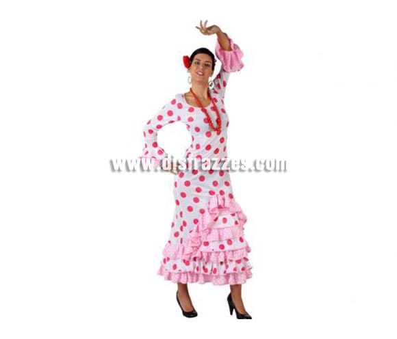 Disfraz de Faralae blanco con lunar rosa para mujer. Talla 2 ó talla Standar M-L = 38/42.Incluye vestido y flor. Complementos NO incluidos. Disfraz de Sevillana, Flamenca o Gitana de mujer perfecto para la Feria de Abril.